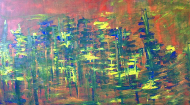 Woods of the first world war Mixed Media on canvas 100 x 150